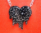 Too Hot For Love - Resin Dripping Heart Necklace