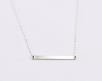Minimal Bar necklace - horizontal thin sterling silver bar - minimalist necklace - skinny bar necklace - sterling silver chain - Silver bar