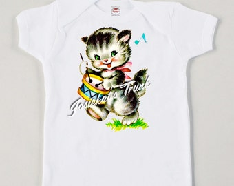 Retro Kitty with Drum Tee Custom Size Vintage Girl Shirt Tank