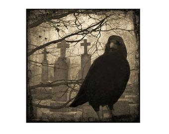 Gothic Decor, Graveyard Raven, Halloween Art, Vintage Sepia, Collage Crow Art, Silver Halide Print, Dark Blackbird - Eerie Crow