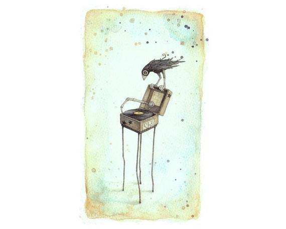 Hush - Signed giclee print of a bird perched on an antique record player (from an original watercolor painting)