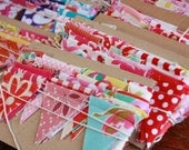 Shabby Chic Mini Flag Decoration, 6' Long Mini Bunting, Features Tiny Flags in a Mix of Reds and Pinks. Mini Garland