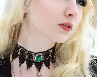 Gothic necklace lace choker Victorian with chains, cross and ornate Emerald green pendant - LUCRETIA