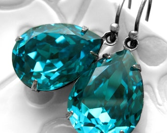 Teal Crystal Teardrop Earrings - Swarovski Zircon Blue, Aqua, Turquoise Teal Crystals with Antiqued Silver - Wedding Bridesmaid Earrings