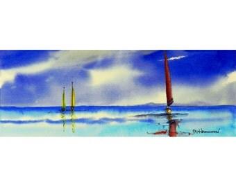 Seascape, Sailboats Painting, Sailing, Original Watercolor Ocean Art, Sea Painting, Boats, Nautical Decor, Coastal Art, Florida USA