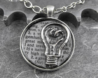 Genius Definition Silver Necklace - Defining the Life of the Inventive by COGnitive Creations
