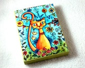 Cat Art Print Wood Block, Mexican Storybook Wood Art Print, Fridge Magnet or Drilled Hole, ACEO ATC Artist Trading Card, Blue Yellow Orange