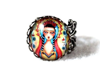 Frida Kahlo Ring, Antique Silver Madonna Mexican Girl Art, Filigree Cocktail Ring Jewelry, Original Art Print, Red Yellow