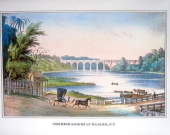 Currier and Ives Print - The High Bridge at Harlem, New York - 1978 Large Vintage Book Page for framing