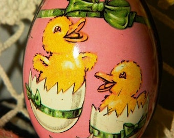 Antique Lithograph Tin Candy Holder Easter Egg, Chicks, Peeps, Made in England, Easter Basket Decor