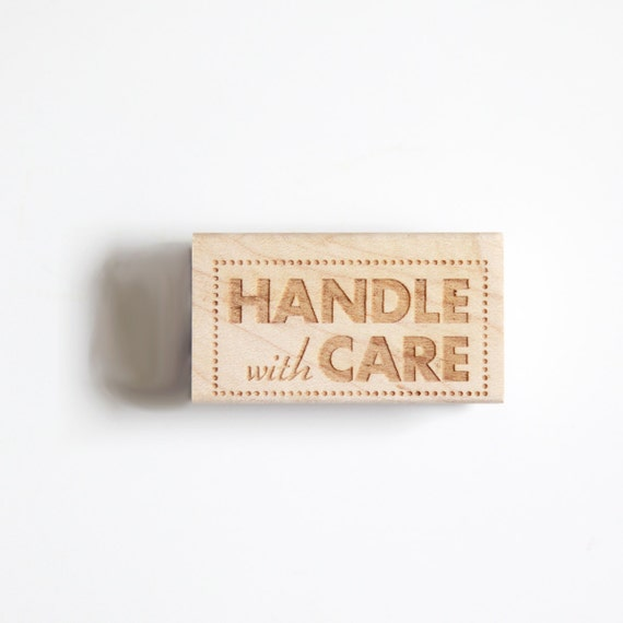 Handle With Care Rubber Stamp (Wood Mounted) Bold Modern Typographic Design with optional wooden handle (S402)