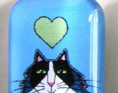 SALE Tuxedo Cat Glass Pendant/ Longhair Kitty on Blue