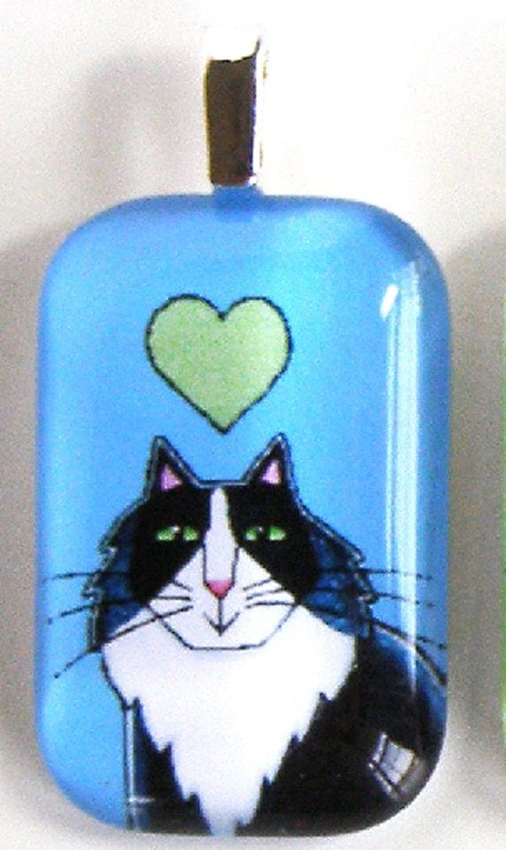 SALE Tuxedo Cat Glass Pendant/ Longhair Kitty on Blue