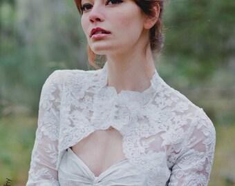 Paige | Keyhole neck Lace Bridal  Bolero