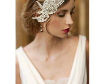 1920s wedding headpiece, bridal cap, bridal hair piece - style 737