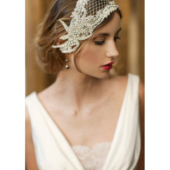 1920s wedding headpiece, bridal cap, bridal hair piece - style 737