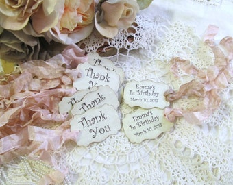 Thank You Favor Tags Parchment - Double Sided Customized Personalized - Set of 18 - Choose Ribbons - Birthday Baby Bridal Shower Wedding