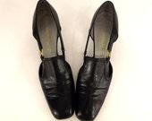 Vintage 60's Florsheim Ladies Shoes, Madmen High Heels,Unique Dress Shoes, Size 8, Open Sided, Modified Slingback, Square Toe, Side Cut Outs