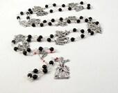 Stations of the Cross Chaplet Rosary Via Crucis Via Dolorosa Onyx Black Prayer Beads Wire Wrapped  Unbreakable Lenten Meditation