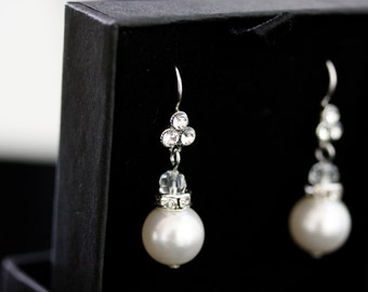Pearl wedding Earrings, Small Pearl and Rhinestone Bridal Earrings, Wedding Jewelry,  Pearl earrings MINI