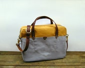 "13"" Canvas Leather Laptop Bag / Gold & Gray / FREE US SHIPPING"