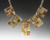 5 Panel Patchwork Necklace, bib necklace, mixed metal bib necklace, mixed metal necklace, boho necklace, bohemian