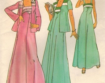 1970s Simplicity 7269 UNCUT Vintage Sewing Pattern Junior A-line Formal Dress, Formal Gown, Jacket Size 9 - 11 Bust 32 - 33-1/2
