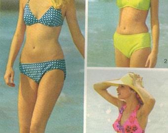 1970s Simplicity 5576 Vintage Sewing Pattern Misses Bikini, Swimsuit, Bathing Suit Size Large