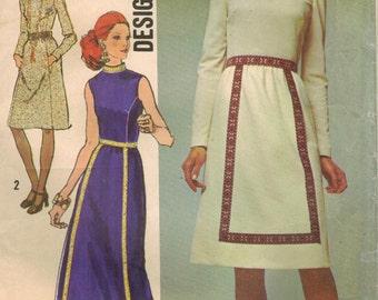 1970s Simplicity 9606 UNCUT Vintage Sewing Pattern Misses Designer Dress, Evening Dress Size 12 Bust 34