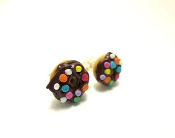 Vanilla Donut with Chocolate Icing and Sprinkles Earrings, Miniature Food Jewelry, Polymer Clay Food Jewelry