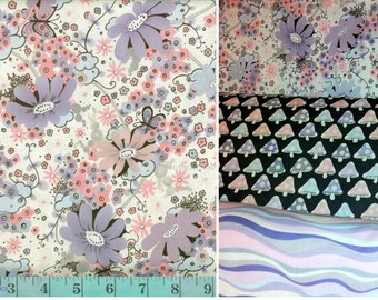 OOP Tillbrook in Lavender by Alexander Henry, cotton fabric - 1 yard bundle of 3