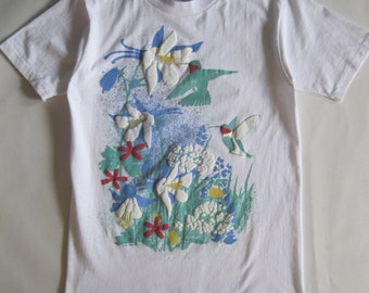 Vintage wildflower and hummingbird tee, white with blue, green, red, yellow, and flocked white screenprint front and back, medium