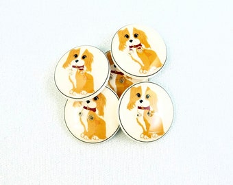 "Handmade Buttons. Dog Buttons. 5  Handmade Buttons. Resin sewing buttons. Spaniel Buttons. 3/4"" or 20 mm Round."