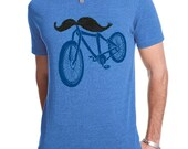 Bicycle Shirt, Mens Vintage Bike Shirt, Steampunk Mustache Shirt, Heather Blue Tee, Available S M L XL XXL