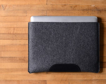 "MacBook Pro Sleeve - Charcoal Felt and Black Leather Patch for the New 13"" MacBook Pro or the New 15"" MacBook Pro"