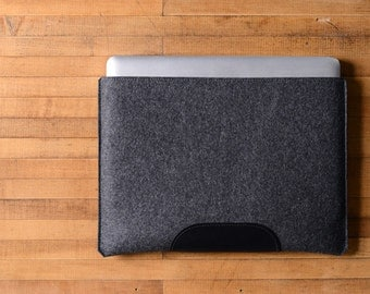 MacBook Pro Sleeve - Charcoal Felt and Black Leather Patch