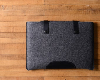 MacBook Pro Sleeve - Charcoal Felt and Black Leather Patch, Straps