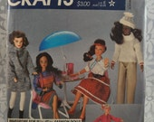 McCall's 627 - Clothes for Barbie, Darci, Jem, & Other 11.5 Inch to 12.5 Inch Fashion Dolls - Great Vintage Pattern - Retro Style - UNCUT