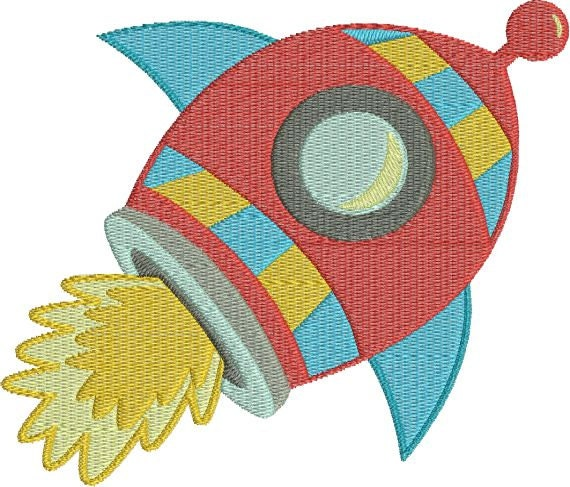 Rocket ship outer space machine embroidery designs 4x4 5x7 for Space embroidery patterns