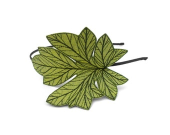 Watermelon Leaf Headband- Shimmery Peridot Green with Sage and Hunter Green Embroidery