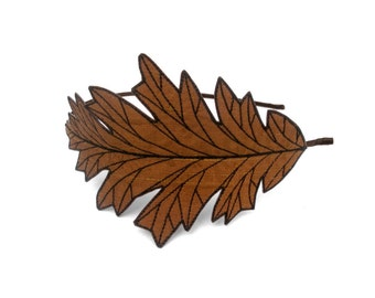 Oak Leaf Headband- Unique Embroidered Autumn Leaf Headband- Nut Brown with Dark Brown Embroidery