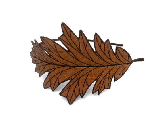 Oak leaf headband unique embroidered autumn
