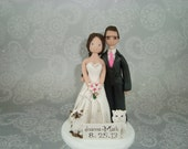 Bride & Groom with Cats Customized Wedding Cake Topper
