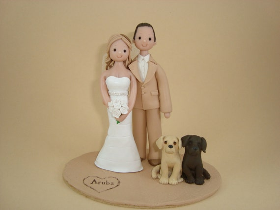 Custom Outdoor Theme Bride & Groom Wedding Cake Topper