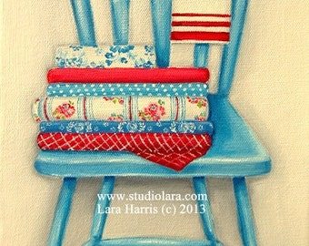 Fresh Linens. . . . . . Chair Painting in Oil by LARA 8x10 Still Life