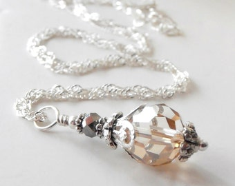 Champagne Bridesmaid Necklace - Crystal Bridesmaid Jewelry - Crystal Necklace - Beaded Necklace - Swarovski Elements Wedding Jewelry Set