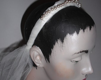 Vintage teardrop pearl crown antique ecru pearl headpiece for brides