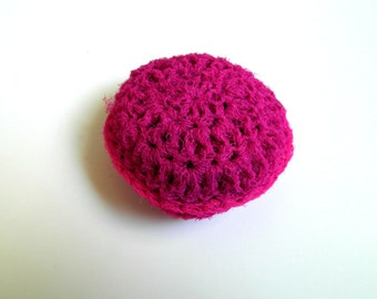 Crocheting Pot Scrubbers : Hot Pink Cleaning Scrubbie, fuchsia Crochet pot scrubber for pots pans ...