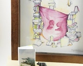 Literary Fort Art Print - Two kids in a literary fort of books, tree braches, and purple