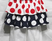 Girls Summer- Red White and Blue /3 layer Ruffle top-12 mo-6 yrs